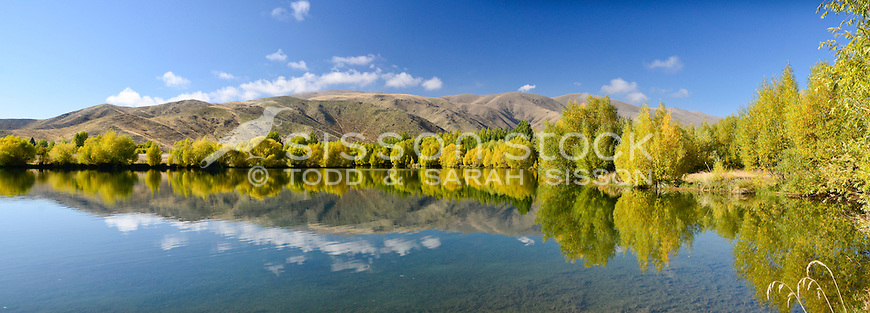 A still morning creates tranquil reflections in a pond near Twizel, McKenzie Country, South Island, New Zealand.