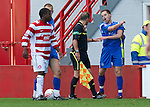 Hamilton Accies v St Johnstone..23.10.10  .Alan Maybury reacts after being pushed into the hoardings by Nigel Hasselbaink.Picture by Graeme Hart..Copyright Perthshire Picture Agency.Tel: 01738 623350  Mobile: 07990 594431