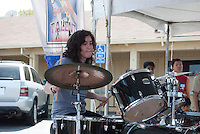 """The Harker School - US - Upper School - Gillian Wallin, grade 10, playing the drums with her band AUX Input, at the """"Celebrate Saratoga"""" all day festival held in downtown Saratoga - Photo by Marcia Hirtenstein, parent"""