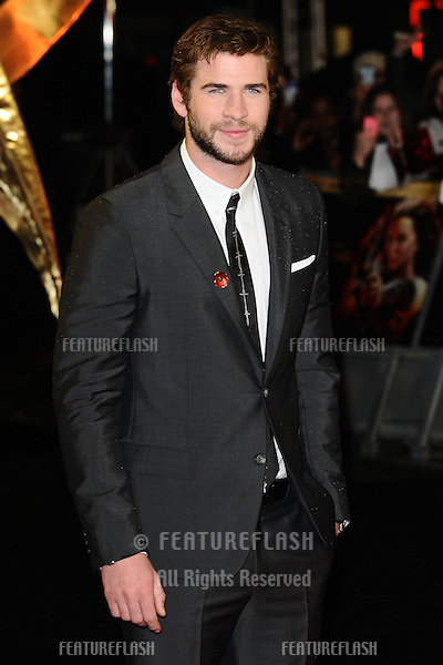 "Liam Hemsworth arriving for the World Premiere of ""The Hunger Games: Catching Fire"" in Leicester Square, London. 11/11/2013 Picture by: Steve Vas / Featureflash"