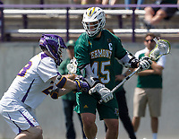 Ian MacKay (#45) looks to move past a defender as UAlbany Lacrosse defeats Vermont 14-4  in the American East Conference Championship game at Casey Stadium, May 5.
