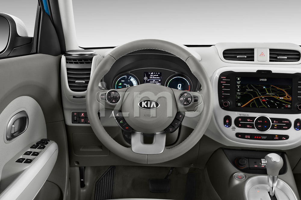 Car pictures of steering wheel view of a 2018 KIA Soul EV Base 5 Door Hatchback