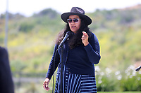 May 3 2019. Carlsbad, CA. |  Vista City Councilmember Corinna Contreras talks at Community Call to Action Led by Community Leaders and Local Elected Officials in Response to Poway Shooting held at Alga Norte Community Park in Carlsbad. | Photos by Jamie Scott Lytle. Copyright.