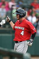 Oklahoma City RedHawks outfielder Robbie Grossman (4) fits bumps a teammate after hitting a home run during a game against the Memphis Redbirds on May 23, 2014 at AutoZone Park in Memphis, Tennessee.  Oklahoma City defeated Memphis 12-10.  (Mike Janes/Four Seam Images)