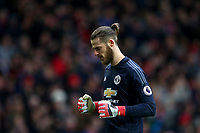 David De Gea of Manchester United celebrates his sides second goal during the Premier League match between Manchester United and Swansea City at the Old Trafford, Manchester, England, UK. Saturday 31 March 2018