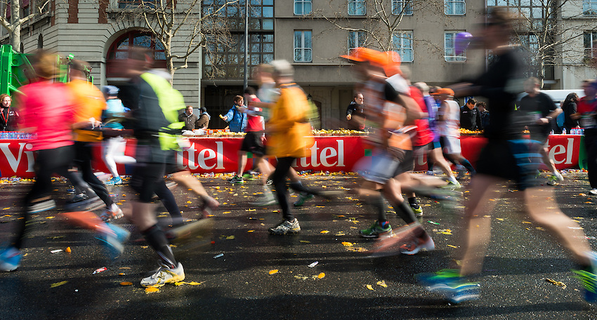 """The 2013 Paris Marathon starting at Avenue Champs-Elysées and ending at Porte Dauphine, near the Bois de Boulogne. Sunday 7th April 2013. 39,967 people took part of whom 34,297 finished. The fastest time was by Peter Some, aged 22, from Kenya (2h5'38""""), just 26 seconds short of the record. The fastest woman was Boru Tardese (Ethiopia) with a time of 2h21'06"""". The slowest time was 6h28'."""