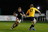 Luke Hibberd of London Scottish in action during the Championship Cup match between London Scottish Football Club and Yorkshire Carnegie at Richmond Athletic Ground, Richmond, United Kingdom on 4 October 2019. Photo by Carlton Myrie / PRiME Media Images