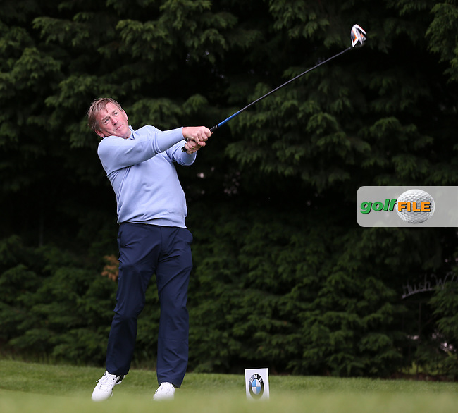 Scottish footballing legend Kenny Dalglish drives the 18th during the Pro-Am ahead of the 2015 BMW PGA Championship over the West Course at Wentworth, Virginia Water, London. Picture David Lloyd, www.golffile.ie: 20/05/2015