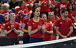 Anne Keithavong (Captain of the Great Britain team) applauds. Rubber 1. World group II play off in the BNP Paribas Fed Cup. Copper Box arena. Queen Elizabeth Olympic Park. Stratford. London. UK. 20/04/2019. ~ MANDATORY Credit Garry Bowden/Sportinpictures - NO UNAUTHORISED USE - 07837 394578