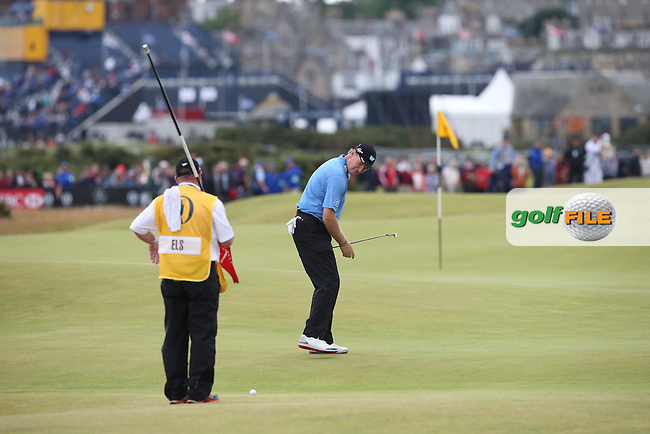 Ernie Els (RSA) being careful not to step on his line of putt on the 15th during Round Three (Sunday) at the 144th Open, played at the Old Course, St Andrews, Scotland. /19/07/2015/. Picture: Golffile | David Lloyd<br /> <br /> All photos usage must carry mandatory copyright credit (&copy; Golffile | David Lloyd)