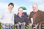 MARKING: John Quilter and Ray Bergin (Killarney) and Liam O'Mahony (Ballyheigue) having a good day and marking their programmes at the North Kerry Harriers Point to Point races in Ballybunion on Saturday.................................. ....