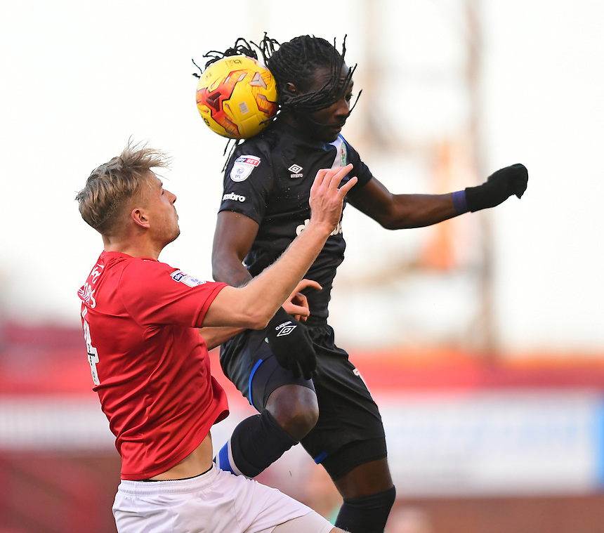 Blackburn Rovers' Marvin Emnes vies for possession with Barnsley's Marc Roberts<br /> <br /> Photographer Chris Vaughan/CameraSport<br /> <br /> The EFL Sky Bet Championship - Barnsley v Blackburn Rovers - Monday 26th December 2016 - Oakwell Stadium - Barnsley<br /> <br /> World Copyright &copy; 2016 CameraSport. All rights reserved. 43 Linden Ave. Countesthorpe. Leicester. England. LE8 5PG - Tel: +44 (0) 116 277 4147 - admin@camerasport.com - www.camerasport.com