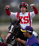 November 2, 2019: Bricks and Mortar, ridden by Irad Ortiz, Jr., wins the Longines Breeders' Cup Turf on Breeders' Cup World Championship Saturday at Santa Anita Park on November 2, 2019: in Arcadia, California. Carolyn Simancik/Eclipse Sportswire/CSM