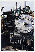 An almost head-on view of D&amp;RGW #340 at Knott's Berry Farm.<br /> D&amp;RGW  Buena Park, CA  Taken by Dorman, Richard L. - 8/13/2003
