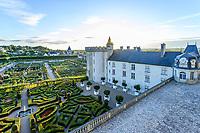 France, Indre-et-Loire (37), Villandry, Jardins du château de Villandry en août,