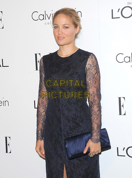 Erika Christensen.18th Annual ELLE Women in Hollywood celebration held at The Four Seasons in Beverly Hills, California, USA..October 17th, 2011.half length blue navy black lace dress clutch bag.CAP/RKE/DVS.©DVS/RockinExposures/Capital Pictures.