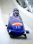 18 December 2010: Paula Walker crosses the finish line, finishing in 10th place for Great Britain at the Viessmann FIBT World Cup Bobsled Championships on Mount Van Hoevenberg in Lake Placid, New York, USA. Mandatory Credit: Ed Wolfstein Photo