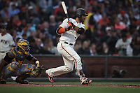 SAN FRANCISCO, CA - AUGUST 11:  Brandon Crawford #35 of the San Francisco Giants bats against the Pittsburgh Pirates during the game at AT&T Park on Saturday, August 11, 2018 in San Francisco, California. (Photo by Brad Mangin)