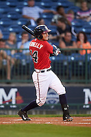 Mississippi Braves catcher Matt Kennelly (14) at bat during a game against the Pensacola Blue Wahoos on May 28, 2015 at Trustmark Park in Pearl, Mississippi.  Mississippi defeated Pensacola 4-2.  (Mike Janes/Four Seam Images)