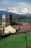 France/09/Ariège/Saint Lizier: les Pyrénées, la cathédrale (14ème siècle) et son cloître.