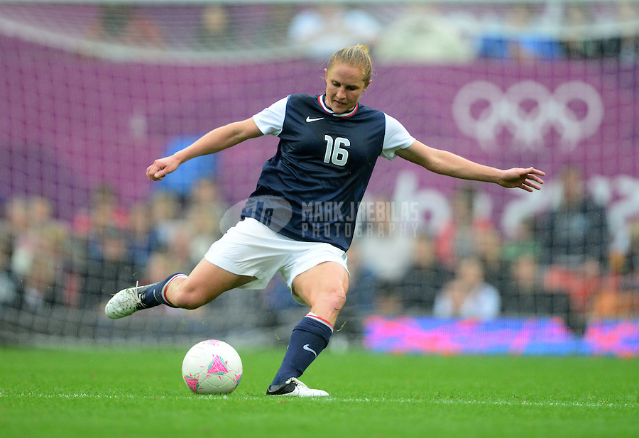 Jul 31, 2012; Manchester , United Kingdom; USA defender (16) Rachel Buehler against North Korea during the women's preliminary round in the London 2012 Olympic Games at Old Trafford. USA defeated North Korea 1-0. Mandatory Credit: Mark J. Rebilas-USA TODAY Sports