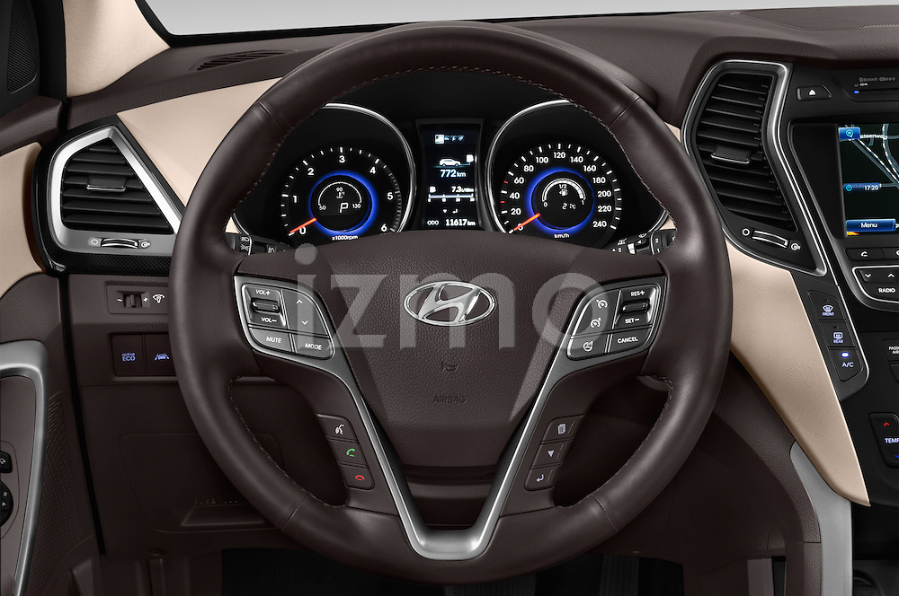 Car pictures of steering wheel view of a 2015 Hyundai Grand Santa Fe Executive 5 Door SUV