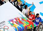 (T-B) Akiyama Toshiyuki, Hideko Murakami, Kuniko Obinata, Wakako Tsuchida,<br /> SEPTEMBER 8, 2013 :<br /> Akiyama Toshiyuki, Hideko Murakami, Kuniko Obinata and Wakako Tsuchida wave to the crowd as they hold a banner to celebrate Tokyo winning the right to host the 2020 Summer Olympics at the Tokyo Municipal Government office square in Tokyo, Japan. (Photo by Masahiro Tsurugi/AFLO)