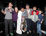Ben Fankhauser, Kara Lindsay, Aaron J. Albano, Jeremy Jordan, Lewis Grosso, Andrew Keenan-Bolger & Matthew J. Schechter.attending the Actors' Equity Broadway Opening Night Gypsy Robe Ceremony for Aaron J. Albano in.'Newsies - The Musical' at the Nederlander Theatre in NewYork City on 3/29/2012