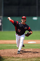 Batavia Muckdogs relief pitcher Ryan McKay (27) delivers a pitch during a game against the Tri-City ValleyCats on July 16, 2017 at Dwyer Stadium in Batavia, New York.  Tri-City defeated Batavia 13-8.  (Mike Janes/Four Seam Images)
