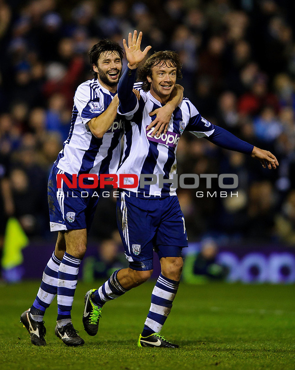 West Brom Defender Diego Lugano (right)  celebrates with Midfielder Claudio Yacob after scoring a goal -  - 20/01/2014 - SPORT - FOOTBALL - The Hawthorns Stadium - West Bromwich Albion v Everton - Barclays Premier League.<br /> Foto nph / Meredith<br /> <br /> ***** OUT OF UK *****