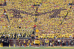 "27 September 2008: The Michigan Stadium student section form a block ""M"" with blue-colored t-shirts within a ""Maize-Out"", during an NCAA college football game between the Michigan Wolverines and the Wisconsin Badgers, in Ann Arbor, Michigan. Michigan upset ninth ranked Wisconsin 27-25."