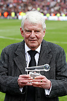 John Motson is presented with a crystal microphone during the EPL - Premier League match between Crystal Palace and West Bromwich Albion at Selhurst Park, London, England on 13 May 2018. Photo by Carlton Myrie / PRiME Media Images.