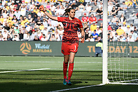 9th November 2019; Bankwest Stadium, Parramatta, New South Wales, Australia; International Womens Friendly Football, Australia versus Chile; Lydia Williams of Australia as a shot from Chile goes wide of hergoal - Editorial Use
