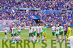 Republic of Ireland players following their defeat in the UEFA Euro 2016 Round of 16 match between France and Republic of Ireland at Stade des Lumieres in Lyon, France.
