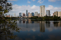 The Boardwalk Trail at Lady Bird Lake offers perfect views of the booming and ever growing downtown Austin Skyline.