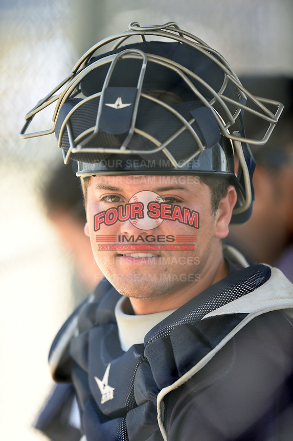 GCL Yankees 2 catcher Jesus Aparicio (36) in the dugout during a game against the GCL Blue Jays on July 2, 2014 at the Bobby Mattick Complex in Dunedin, Florida.  GCL Yankees 2 defeated GCL Blue Jays 9-6.  (Mike Janes/Four Seam Images)
