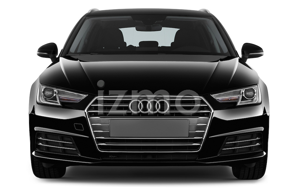 Car photography straight front view of a 2017 Audi A4 Sport 5 Door Wagon Front View