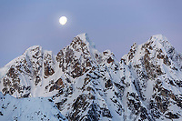 Winter landscape of  the rooster comb in the Alaska Range and Ruth Glacier area with moon . Winter 2017   <br /> <br /> Photo by Jeff Schultz/SchultzPhoto.com  (C) 2017  ALL RIGHTS RESERVED