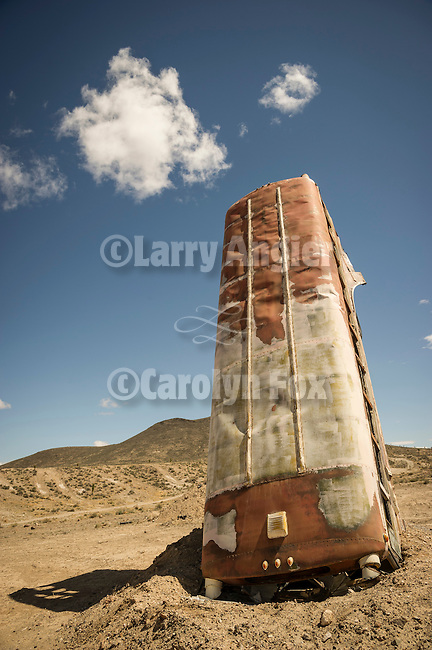 National Junk Car Forest! (World's Largest), Goldfield, Nev.<br /> <br /> A bus buried nose into the ground