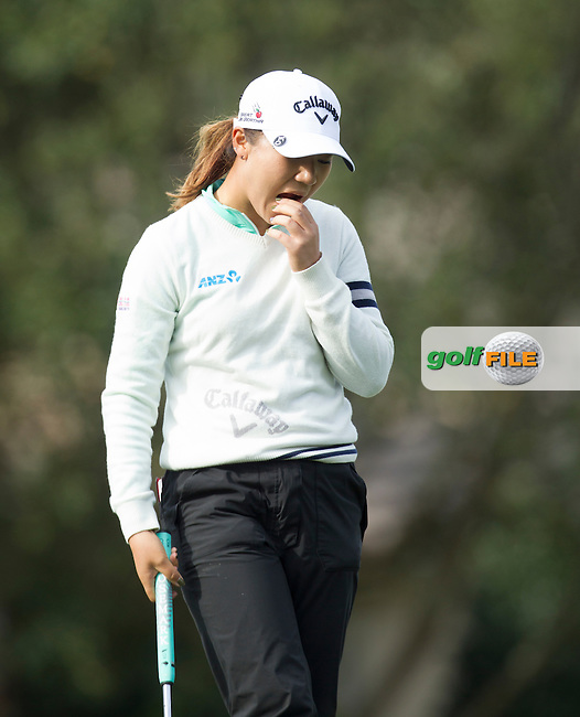 Lydia Ko after missing her putt on the 17th during the Second Day of the Third round of the LPGA Coates Golf Championship 2016 , from the Golden Ocala Golf and Equestrian Club, Ocala, Florida. 6/2/16<br /> Picture: Mark Davison | Golffile<br /> <br /> <br /> All photos usage must carry mandatory copyright credit (&copy; Golffile | Mark Davison)