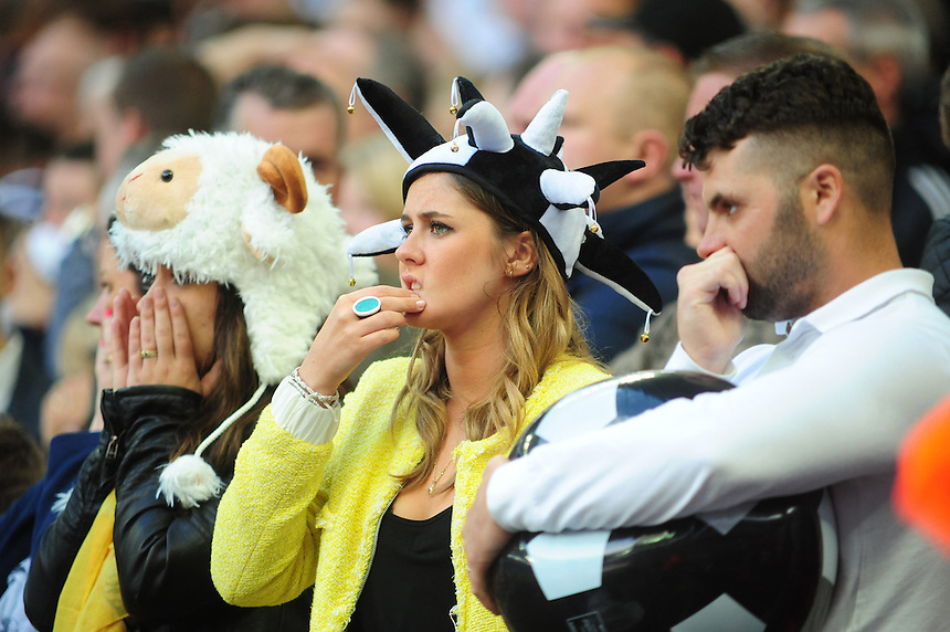 Derby County fans look dejected after Queens Park Rangers' Bobby Zamora scored the only goal of the game<br /> <br /> Photographer Chris Vaughan/CameraSport<br /> <br /> Football - The Football League Sky Bet Championship Play-Off Final - Derby County v Queens Park Rangers - Saturday 24th May 2014 - Wembley Stadium - London<br /> <br /> &copy; CameraSport - 43 Linden Ave. Countesthorpe. Leicester. England. LE8 5PG - Tel: +44 (0) 116 277 4147 - admin@camerasport.com - www.camerasport.com