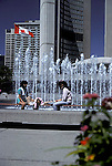 Lunch at the fountain in the park before city hall, toronto<br />