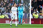 Keylor Navas of Real Madrid reacts during the match of Spanish La Liga between Real Madrid and Real Betis at  Santiago Bernabeu Stadium in Madrid, Spain. March 12, 2017. (ALTERPHOTOS / Rodrigo Jimenez)