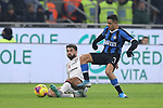 Paolo Farago of Cagliari challenges Alexis Sanchez of Inter during the Coppa Italia match at Giuseppe Meazza, Milan. Picture date: 14th January 2020. Picture credit should read: Jonathan Moscrop/Sportimage