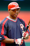 29 June 2005: Marlon Byrd, outfielder for the Washington Nationals, takes batting practice prior to a game against the Pittsburgh Pirates. The Nationals rallied to defeat the Pirates 3-2 in a rain delayed game at RFK Stadium in Washington, DC.  Mandatory Photo Credit: Ed Wolfstein