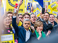 London, UK - March 23 2019: the London mayor Sadiq Khan plays a trumpet during the demonstration the people Brexit march for people's vote protest. Photo Adamo Di Loreto/BuenaVista*photo