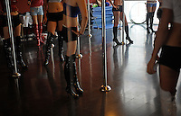 Students at the Lolan Pole Dance studio in Beijing, China, 20 August 2008. <br /> <br /> PHOTO BY RICHARD JONES