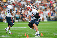 July 24, 2014 - Foxborough, Massachusetts, U.S.- New England Patriots tight end Rob Gronkowski (87) drills during the New England Patriots training camp held at Gillette Stadium in Foxborough Massachusetts. Eric Canha/CSM