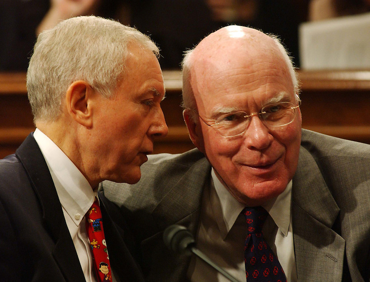 10/2/03.PICKERING NOMINATION--Chairman Orrin G. Hatch, R-Utah, and ranking Democrat Patrick J. Leahy, D-Vt., during the Senate Judiciary business meeting to consider the nomination of Pickering's father, Charles W. Pickering Sr., to be U.S. Circuit judge for the 5th Circuit. The committee endorsed the nomination with a 10-9 party-line vote, setting the stage for yet another Democrat filibuster over President Bush's judicial selections..CONGRESSIONAL QUARTERLY PHOTO BY SCOTT J. FERRELL