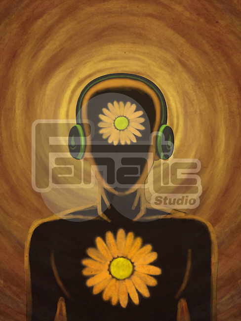 Illustration of man wearing headset representing inner peace